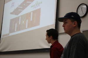 Torey Dunn, Jeremy Roy, and Nick Sethman (not pictured) took charge in leading and presenting Team 1529's design plans